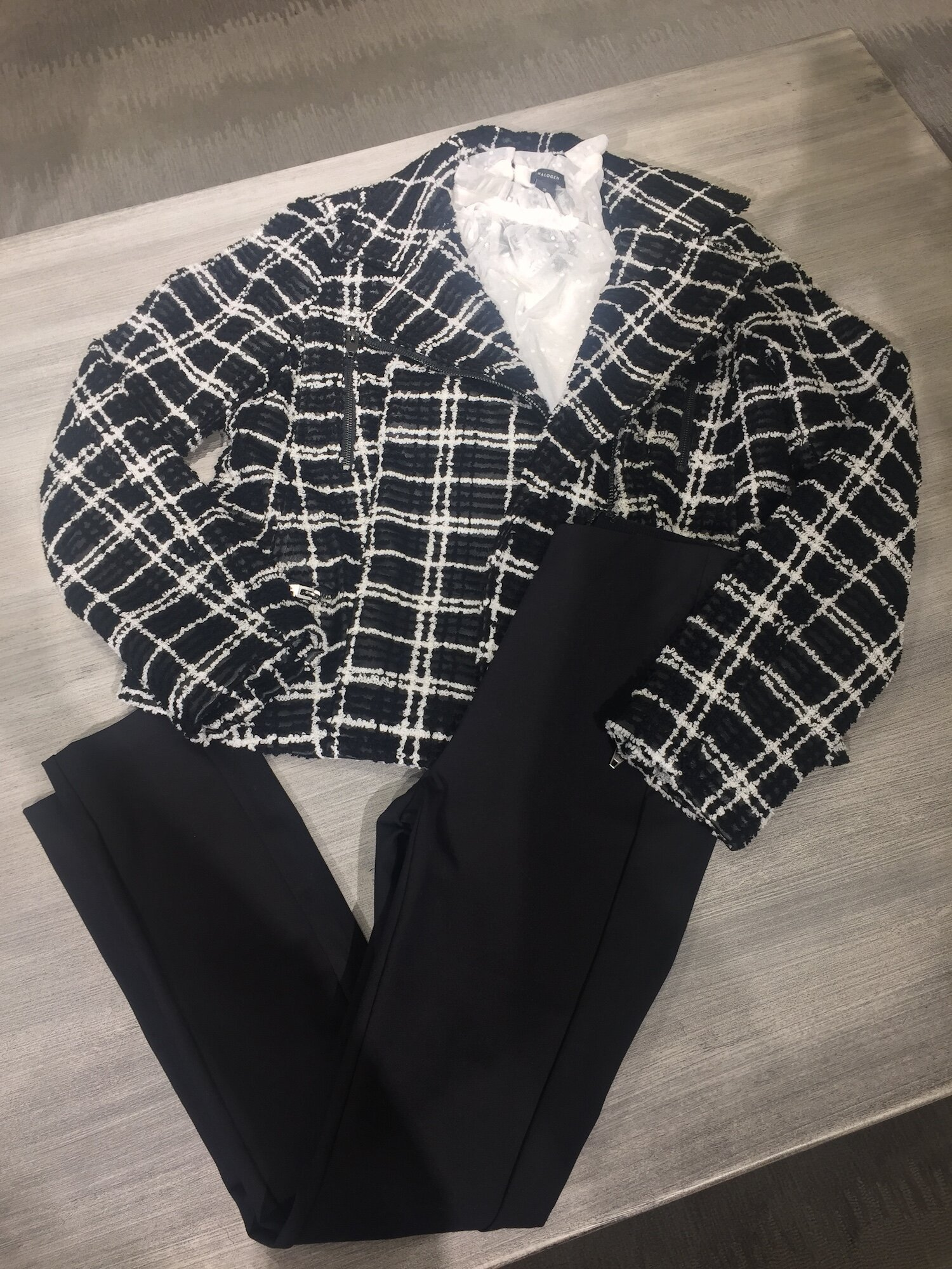 For days you're meeting clients or have a business lunch, opt for a more formal version of business casual.  This lightweight wool slim pant, feminine blouse and plaid blazer assures you'll make a good impression.  Outfit from Nordstrom.