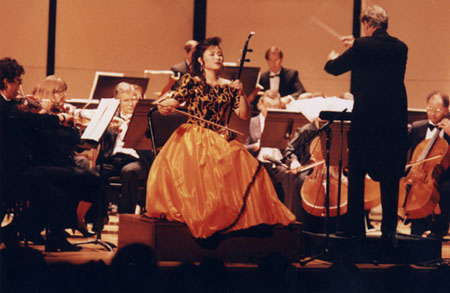 Jiebing performing with an American orchestra in 1994.