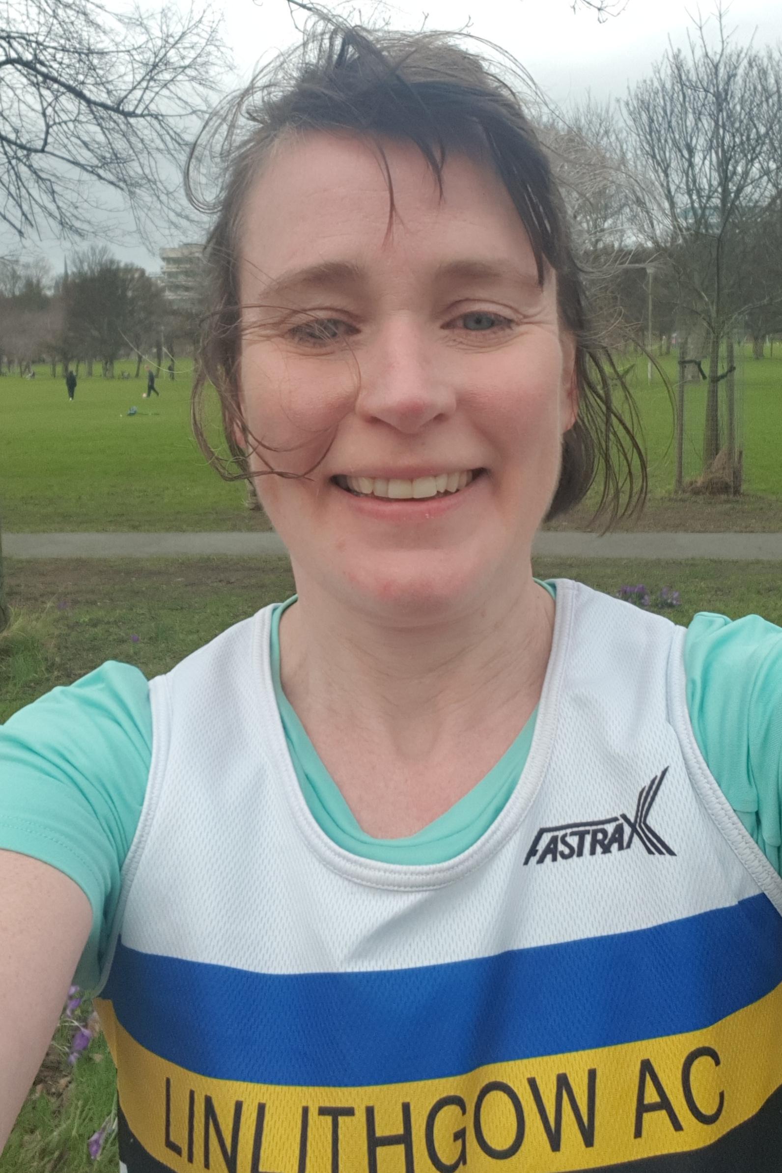A windswept Rosemary Gallagher after the Meadows Half Marathon