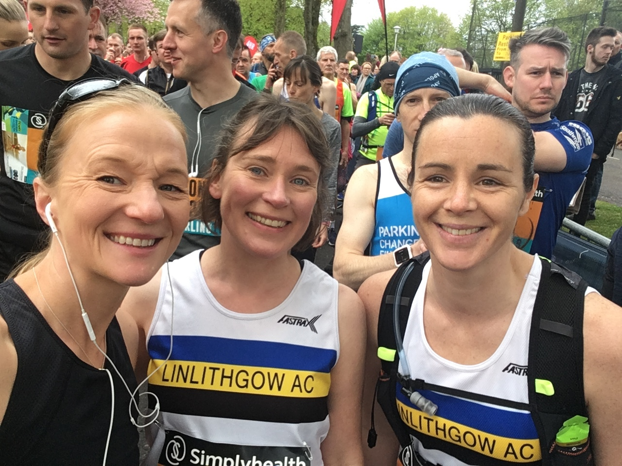 Alison Mitchell, Rosemary Gallagher and Karen Outram on the start line at Stirling