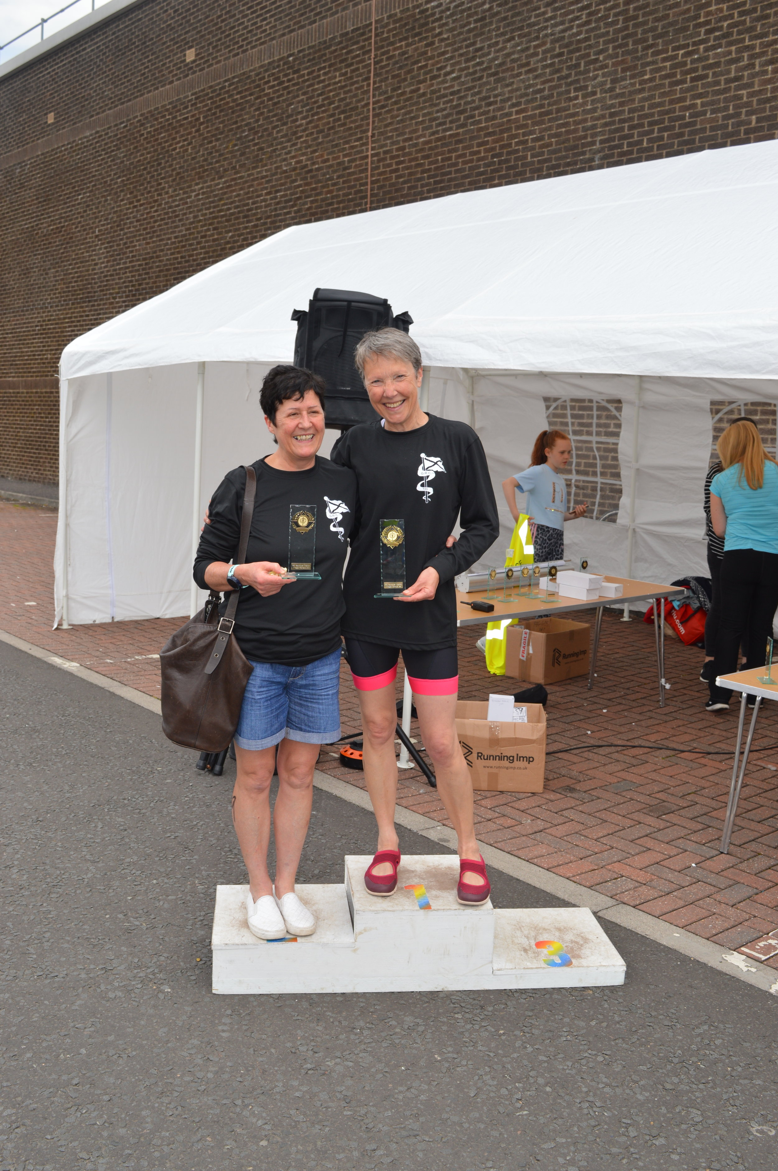 Jill Horsburgh on the podium at the Fauldhouse triathlon