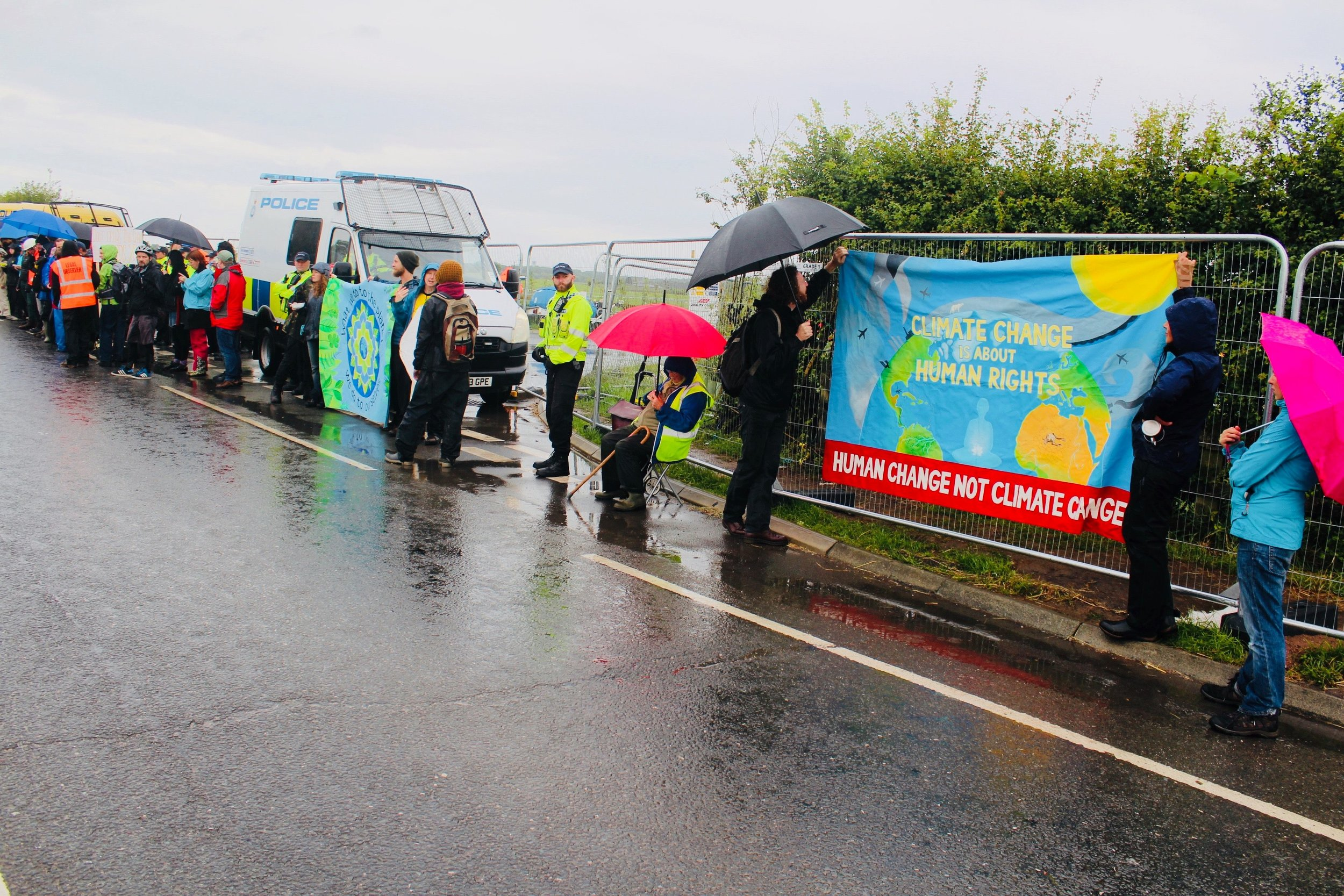 'What we do to the planet, we do to ourselves.' Anti-Fracking Protest in Lancashire. Taken by myself