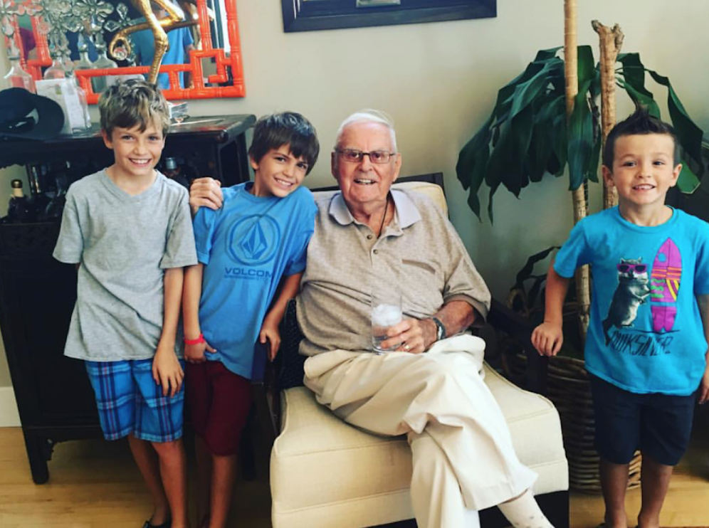"""My three boys with my """"Grandpa Jack"""" who is now 98 and thriving…"""