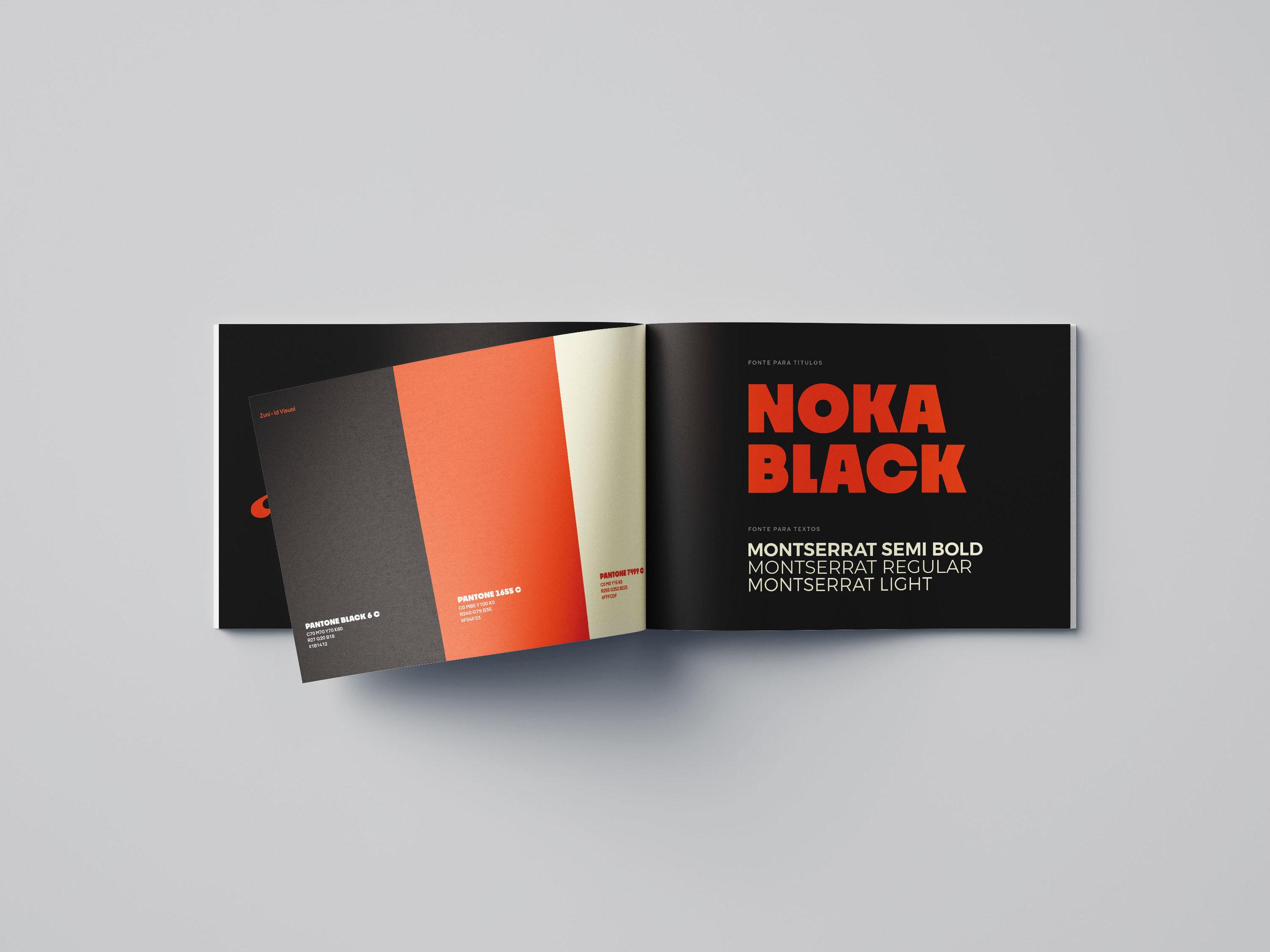 Paleta de cores vibrantes e conjunto tipográfico de apoio completo.