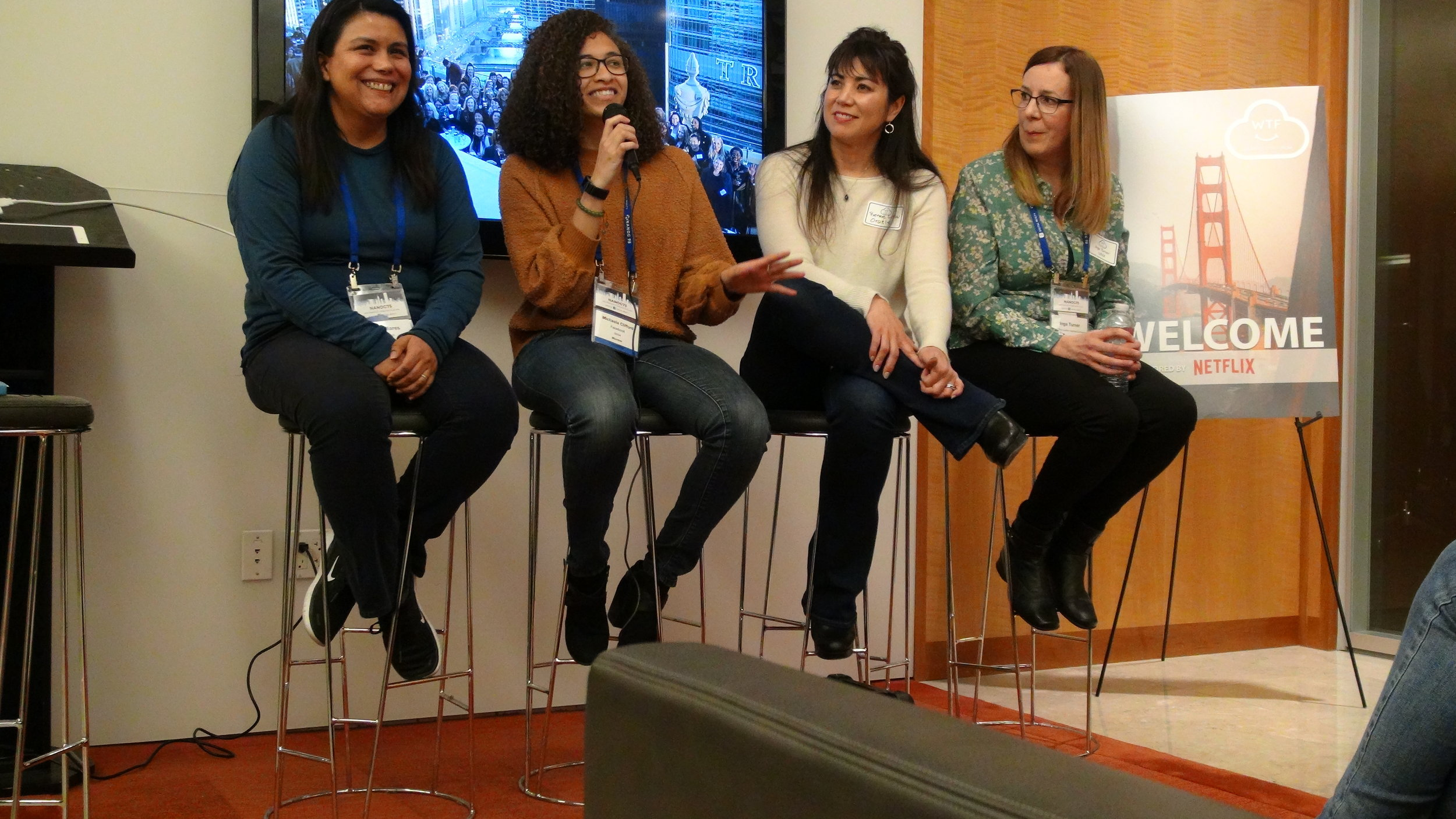 Diversity & Inclusion panel at the WTF NANOG 75 event.    From left to right: Talia Mares (Facebook), Kayla Clifford (Facebook), Renee Law (Oracle), and Inga Turner (Linx)