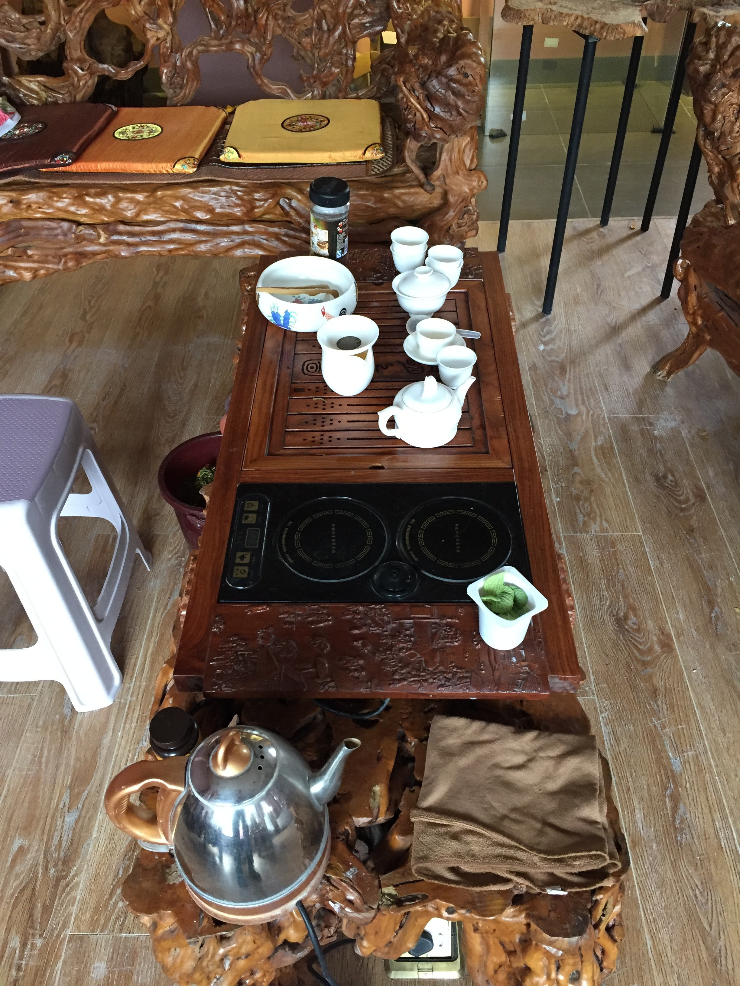 Our studio tea table, and hang out.