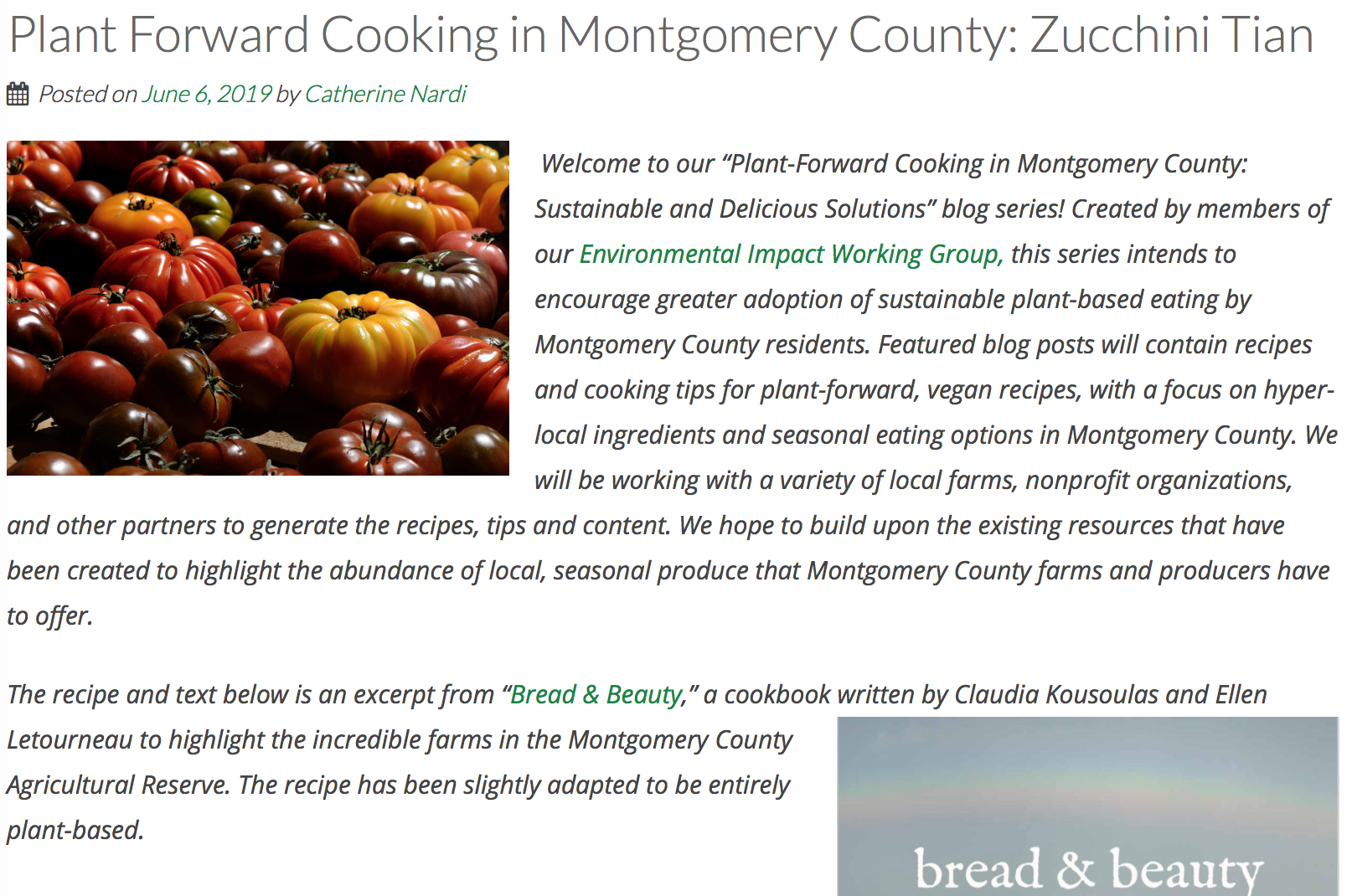 Montgomery County Food Council - We're pleased that our local food council sees Bread & Beauty as a resource  for healthy (and delicious) eating