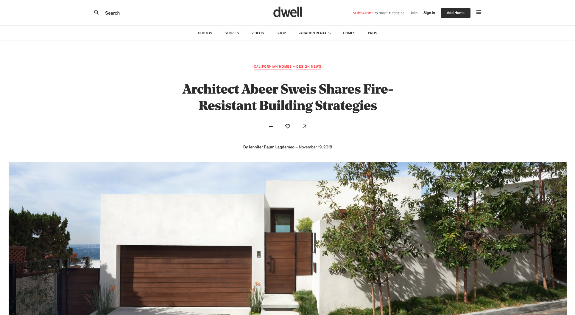 Abeer Sweis Featured in Dwell - Architect Abeer Sweis Shares Fire-Resistant Building Strategies