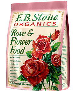 E.B. Stone Rose and Flower Food  is a blend of select natural ingredients designed to encourage sturdy growth and flowering in roses, perennials and other flowering plants. It's also an excellent source of long lasting, slow release nitrogen.   READ MORE