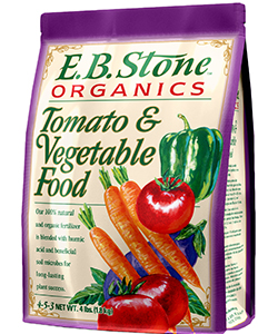 E.B. Stone Tomato & Vegetable Food  is formulated from quality natural organic ingredients for use throughout the vegetable garden as well as with soft fruits like strawberries. It will contribute to even plant growth without producing excessive foliage at the expense of fruit.   READ MORE