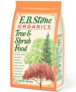 Our  Tree & Shrub Food  is a blend of select natural and organic ingredients for use with a wide variety of trees and shrubs including Japanese Maples. It is formulated to encourage lush green foliage and to support bountiful flower production. E.B. Stone Tree & Shrub Food is rich in nitrogen, which is essential for all woody plants in most landscape situations.   READ MORE