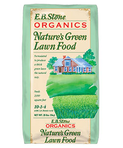 Produce a thick green lawn the natural way with  Nature's Green Lawn Food. This blend of organic ingredients is formulated for use on all types of green lawns. Contains: 10% Nitrogen, 1% Available Phosphate with 4% Soluble Potash all derived from Feather Meal, Blood Meal, Bone Meal and Sulfate of Potash   READ MORE
