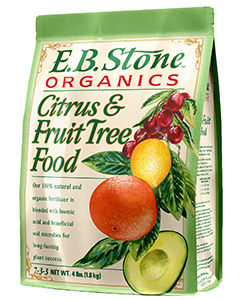 E.B. Stone Citrus & Fruit Tree Food  is a blend of select natural organic ingredients for use with citrus and other home orchard fruit trees and with small fruits like berries and those grown on vines. It is formulated to encourage new growth, lush green foliage and to support bountiful crops.   READ MORE