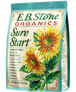 E.B. Stone Sure Start  is a blend of natural organic ingredients formulated to help newly transplanted plants develop strong roots and sturdy growth. Sure Start is rich in natural sources of phosphorus to help your plants develop a strong foundation for future growth. Our gentle and non-burning formula is safe to use with even the most tender transplants.  READ MORE