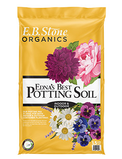 E.B. Stone Edna's Best Potting Soil  is just what every container gardener needs for indoor or outdoor use. We add mycorrhizal fungi to the mix too. These beneficial organisms help colonize the roots of most plants and become a natural extension of the root system.   READ MORE