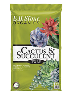 "E.B. Stone Organics Cactus & Succulent Mix  is an ideal potting mix for all types of indoor cactus and succulents.  Contains: Pumice, Fir Bark, Aged Redwood and Sand. Add some of our  Decorative Rock  to give your pots that ""desert look"".    READ MORE"