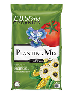 E.B. Stone Planting Mix  is a special blend of ingredients combined to make this an all-purpose outdoor planting mix. Our Planting Mix is blended for use in all soil types and for all types of outdoor gardening.   READ MORE