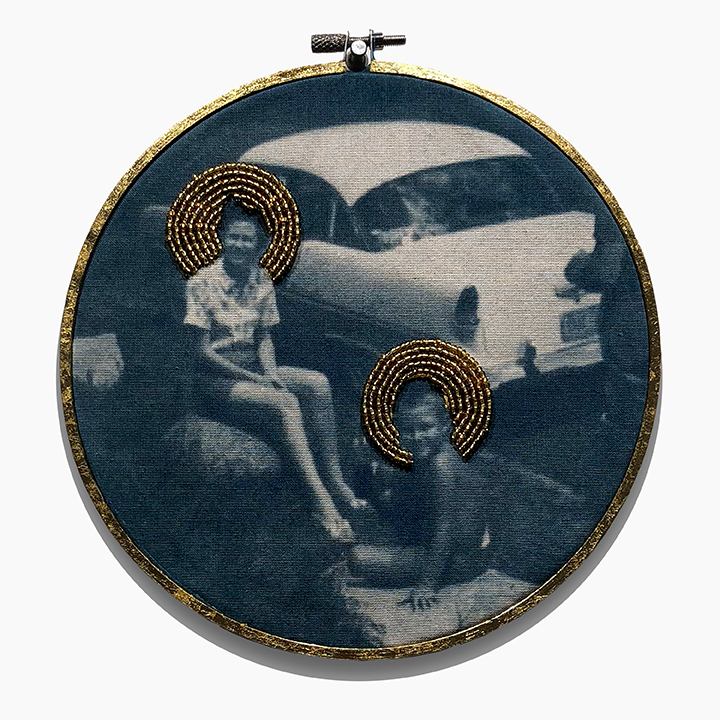 Cyanotype on cloth with gold beading in gold leafed embroidery hoop.