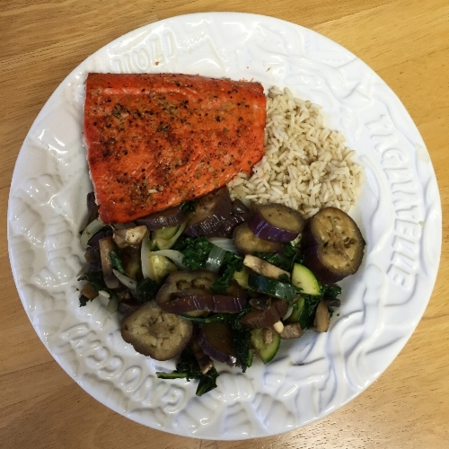 Salmon, brown rice, and veggies sauteed in avocado oil