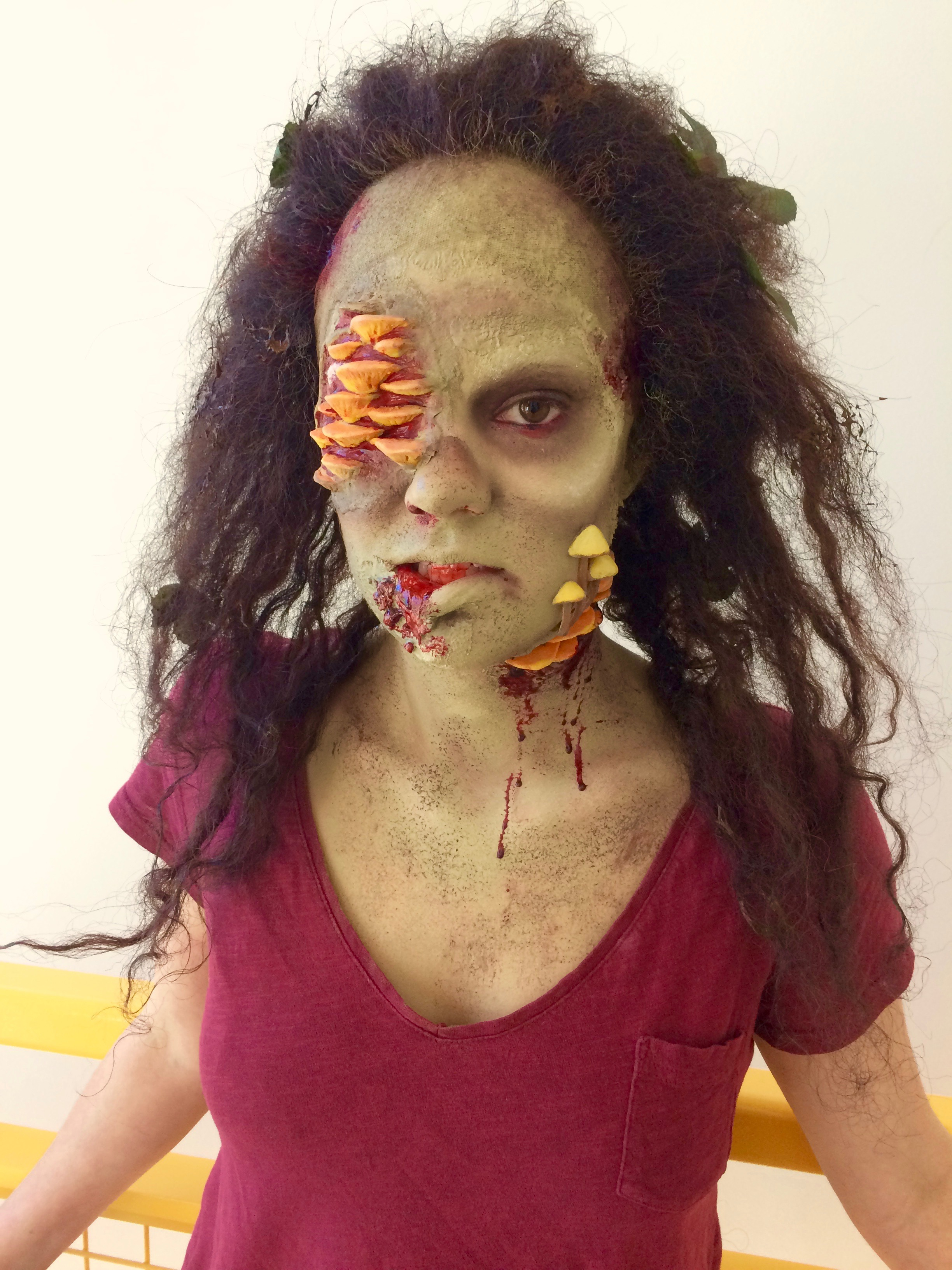 Woodland Zombie makeup project - Silicone prosthetics, latex bald cap, fronted and styled wig