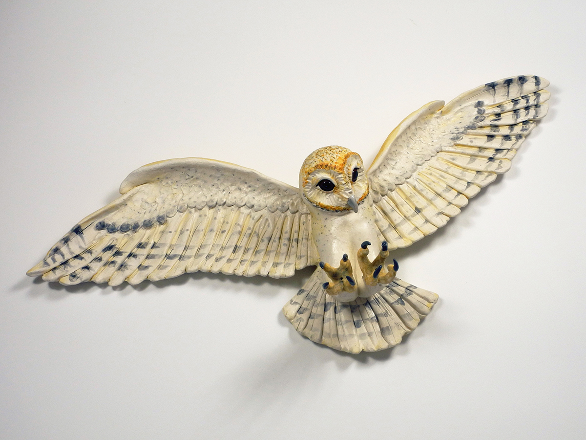 "Barn Owl in Flight, 12""x26""x5"""