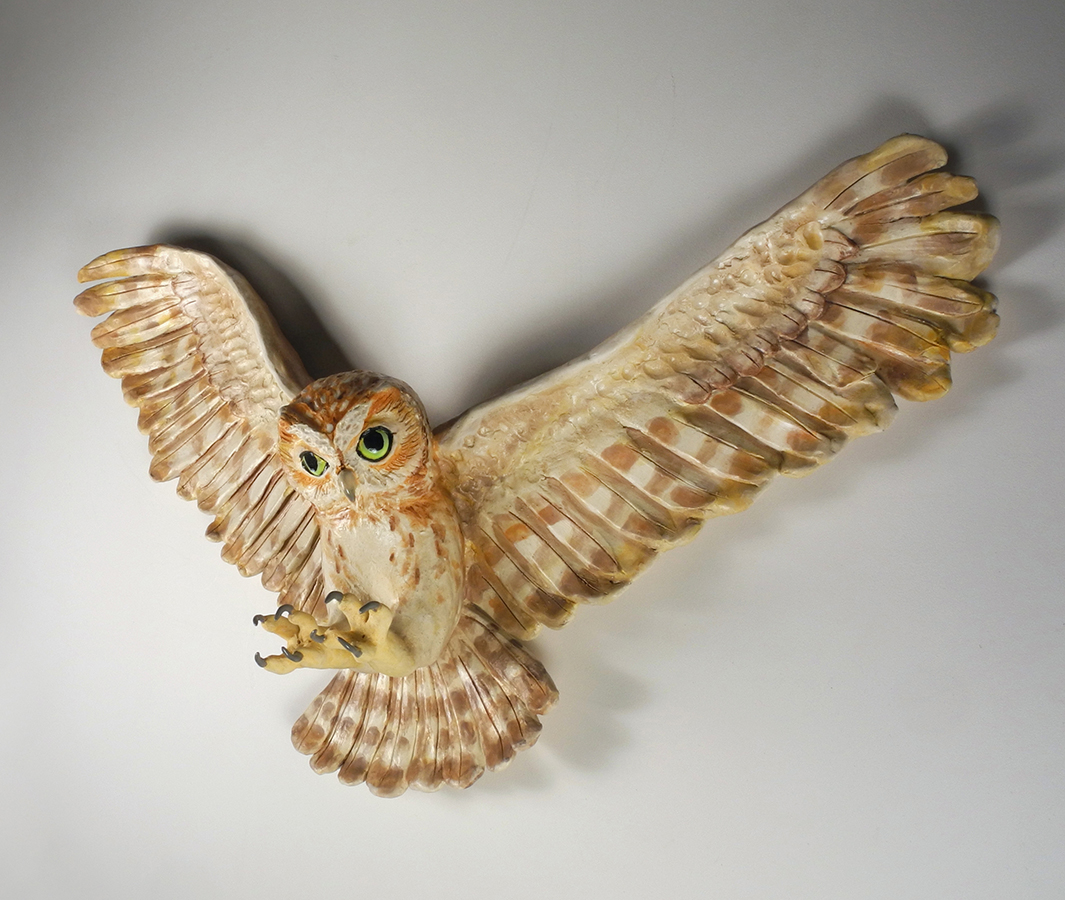 "Screech Owl in Flight, 14""x24""x6"""