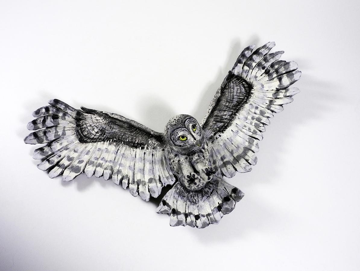 "Snowy Owl in Flight, 15""x23""x5"""