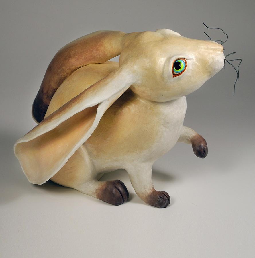 "Quizical Rabbit, 12""x11""x14"""