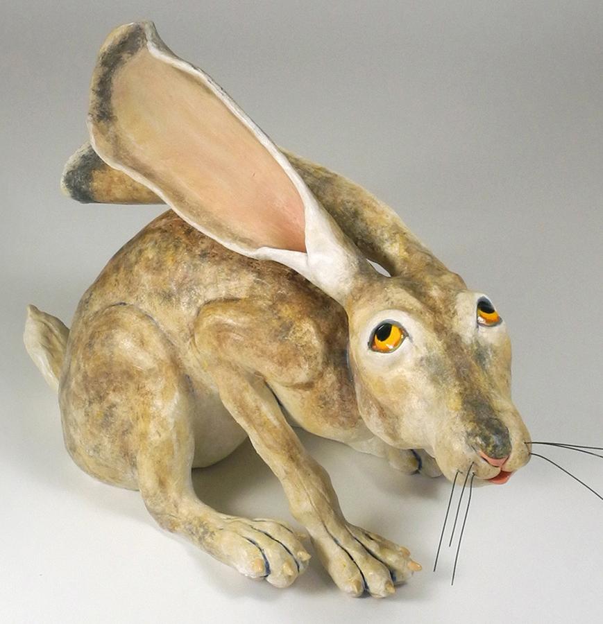 "Watchful Rabbit, 12""x9""x19"""