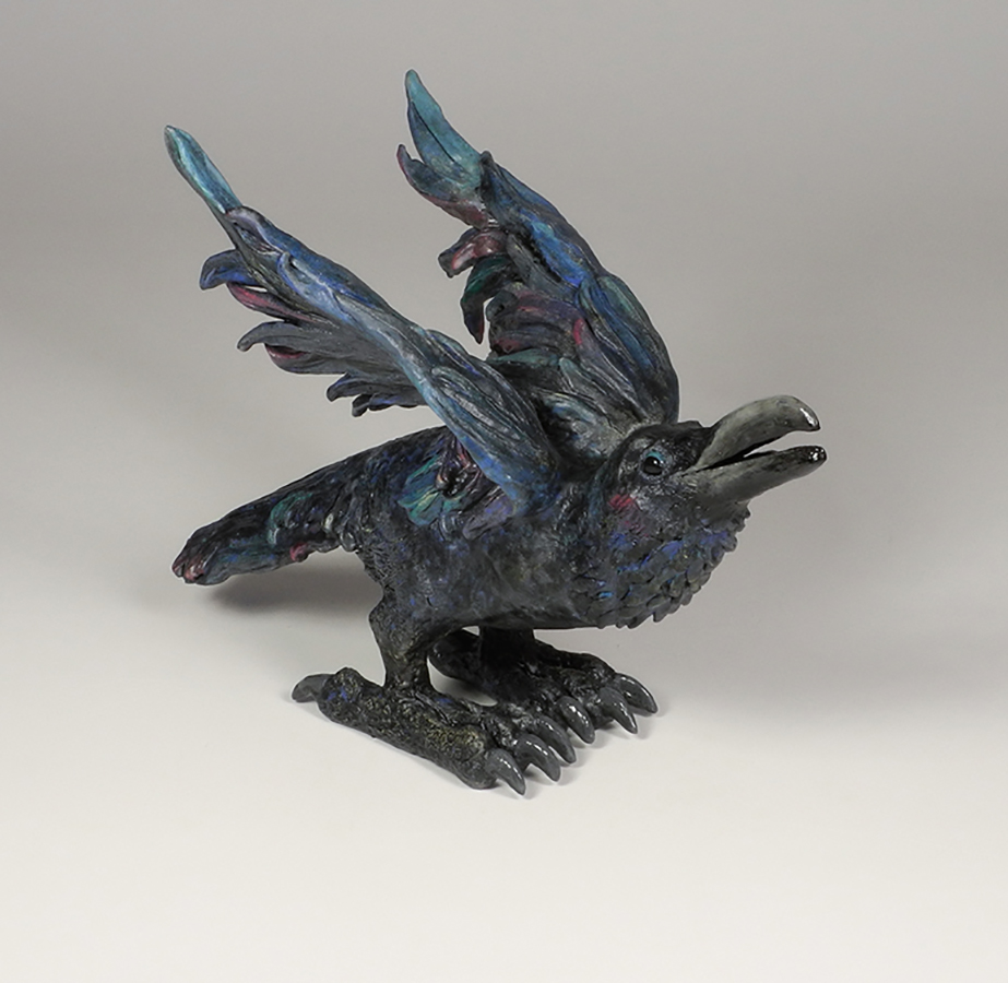 """Rainbow Raven, 12""""x8""""x16"""""""