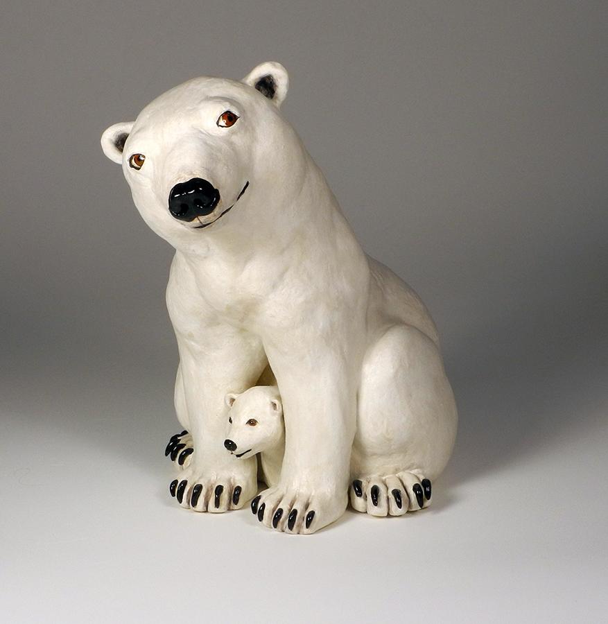 "Polar Bear with Cub, 14""x10""x14"""