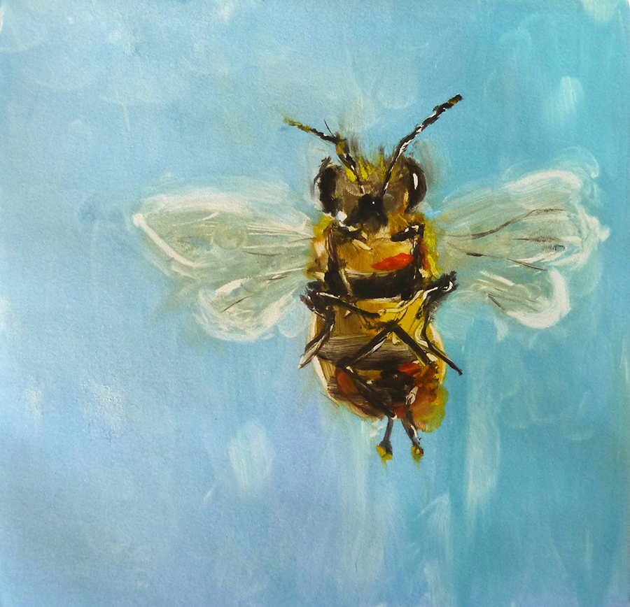 """Busy Bee, monotype, 10""""x10"""""""