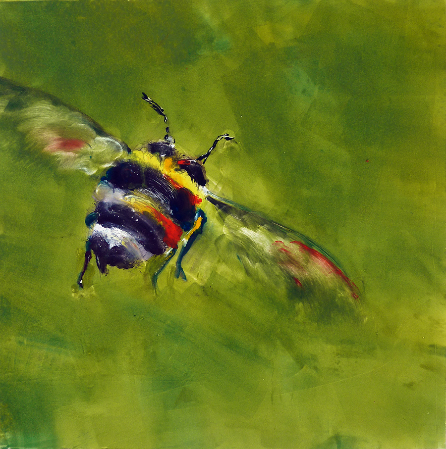 """Bee on Lime Green, monotype, 12""""x12"""""""