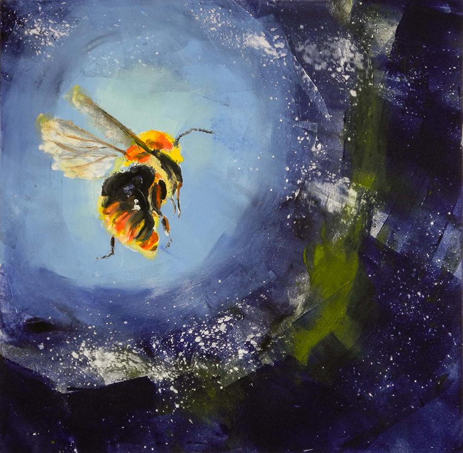 """Bee in Blue Field, monotype, 12""""x12"""""""