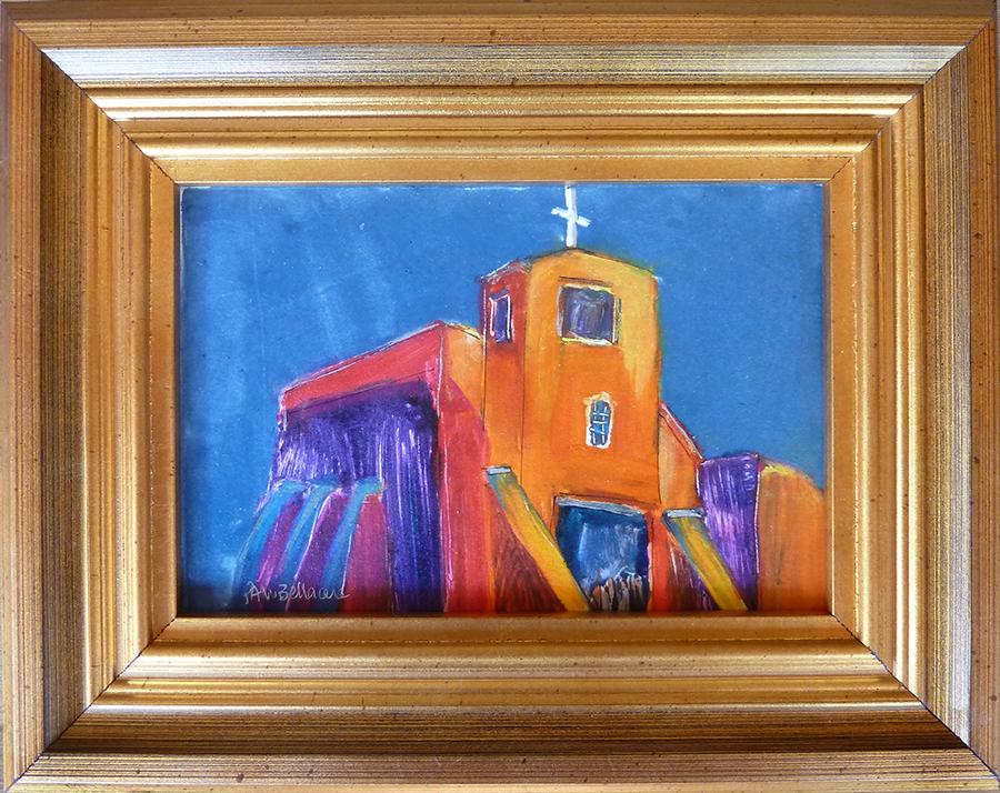 "San Miguel Mission, mixed media, 4""x6"""