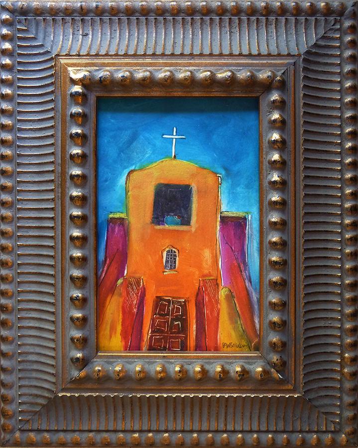 "San Miguel Mission, mixed media, 6""x4"""