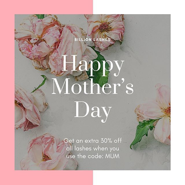 Happy Mother's day! To celebrate all the mums out there, we are having 30% off all lashes today on our website. Use the code: MUM at the checkout 🌸 link is in our bio to shop! #mothersdaysale #billionlashes