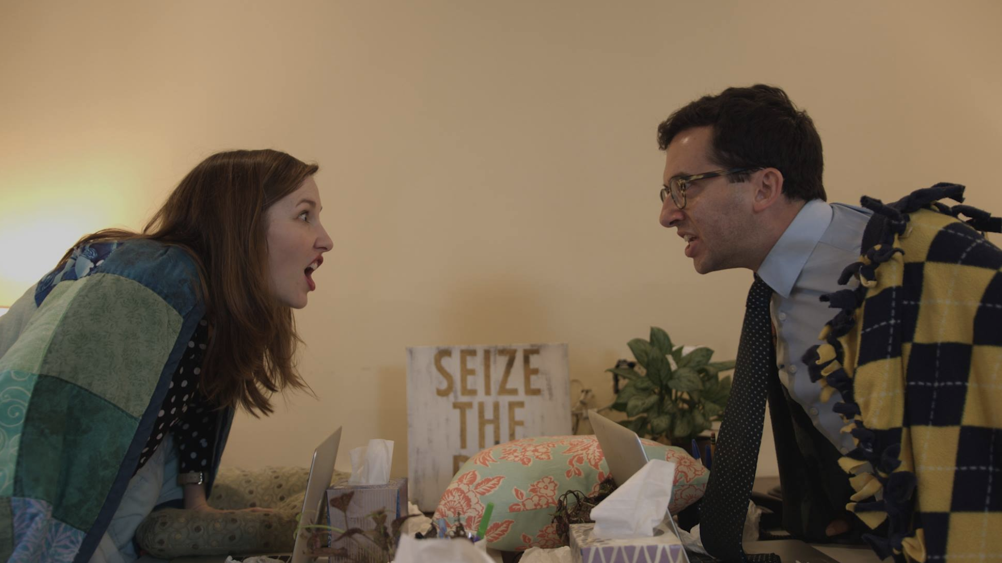 """""""You Should Go Home"""" (4 min) - I directed this original Headcase Productions comedy sketch about two corporate nobodies competing over who can stay at the office the longest and win the promotion that may or may not exist. It was written by Lauren Gilbert and stars the hilarious Martine Moore, Jake Regal, and Jonathan Giles. Check it out HERE!"""