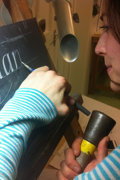 Josephine Crossland - Josephine Crossland used her bursary to attend John Neilson's drawing and carving workshop. She also received calligraphy tuition from Ieuan Rees one of the UK's leading calligraphy artists.
