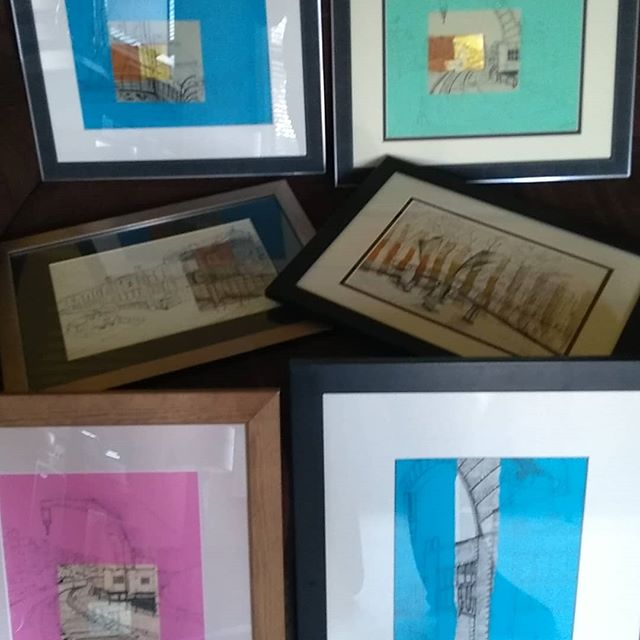 Getting my drawings ready to exhibit at Bristol Folk House cafe from Fri 6 April...seem to have 3 different view of the Steam Crane on Bristol Harbourside