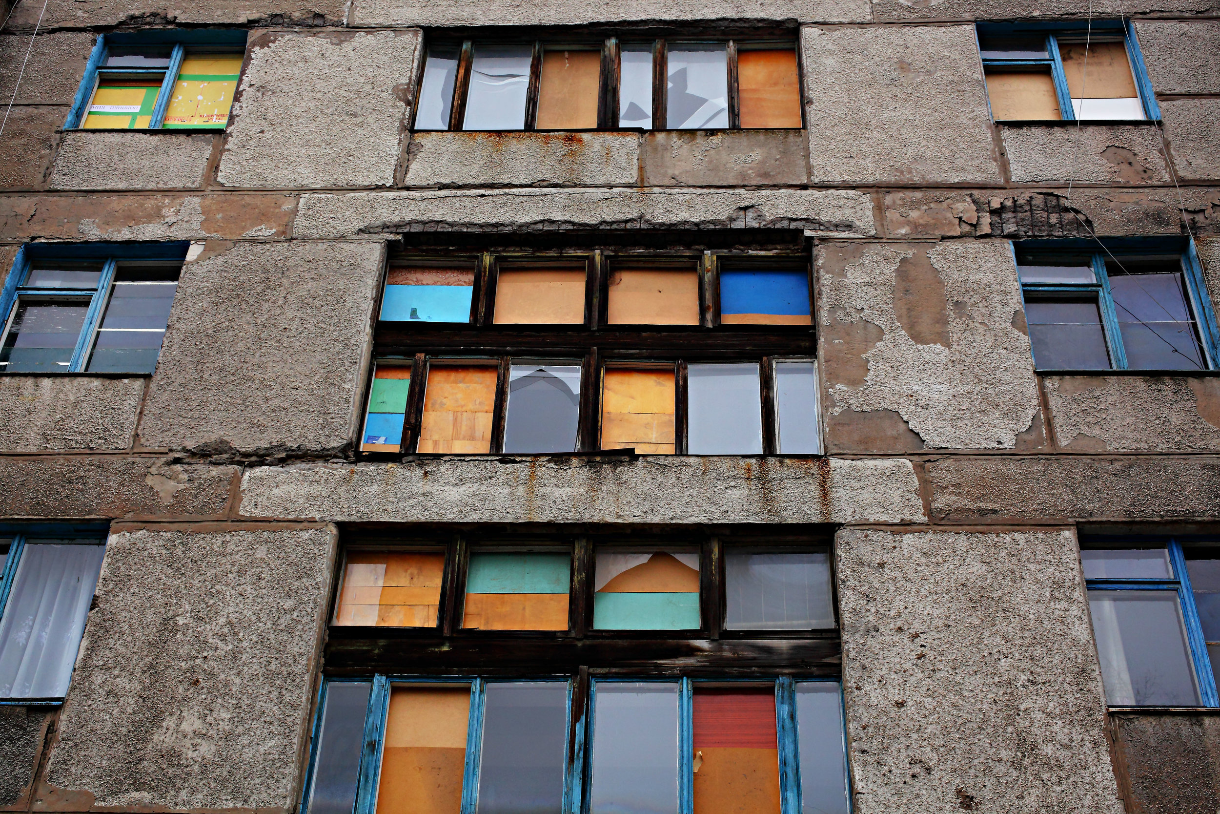 Boarded Up Windows in Donetsk, Ukraine, 2016. Photograpyh by Dimitri Beliakov