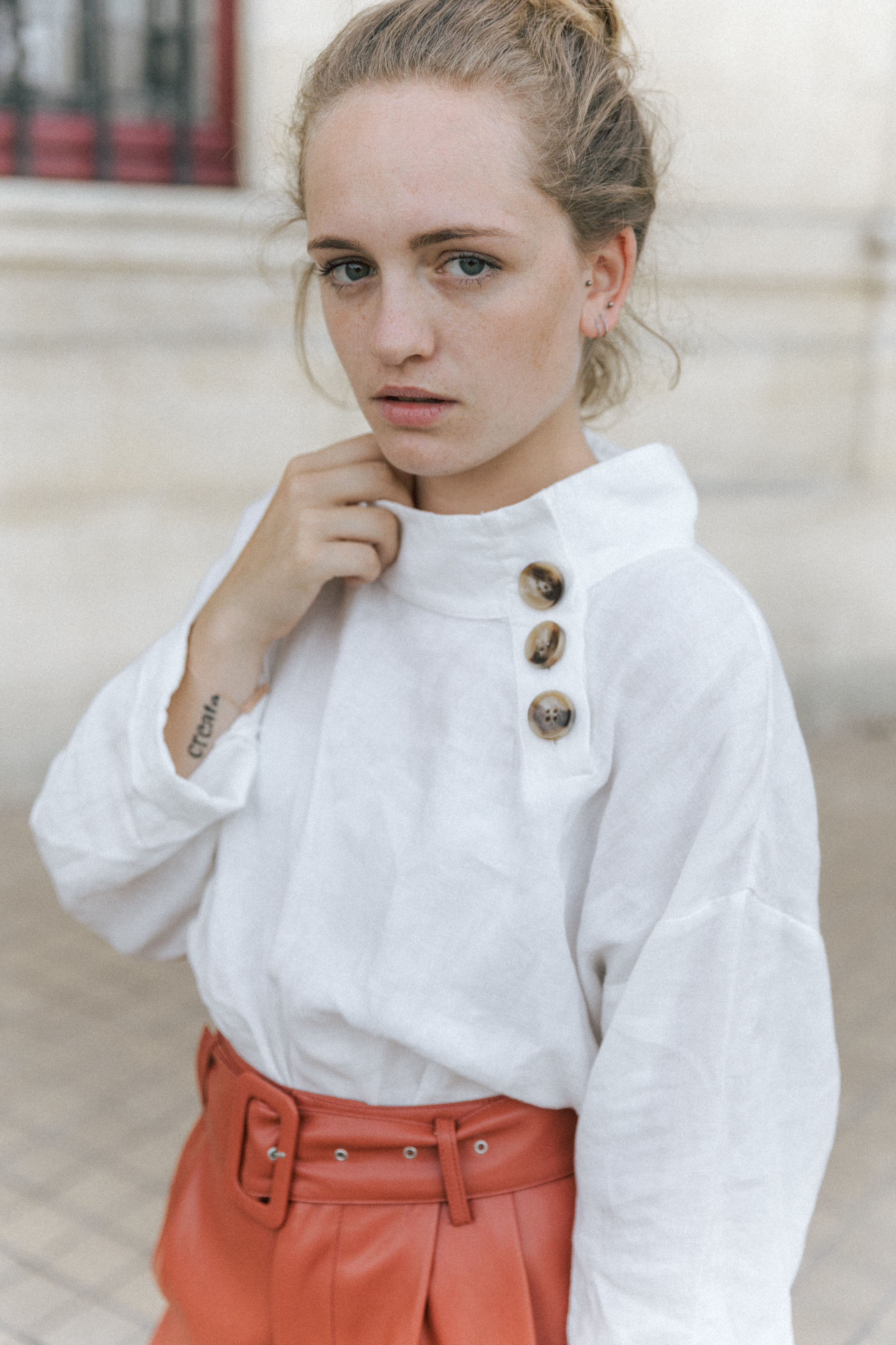 Short Terracota blouse en lin