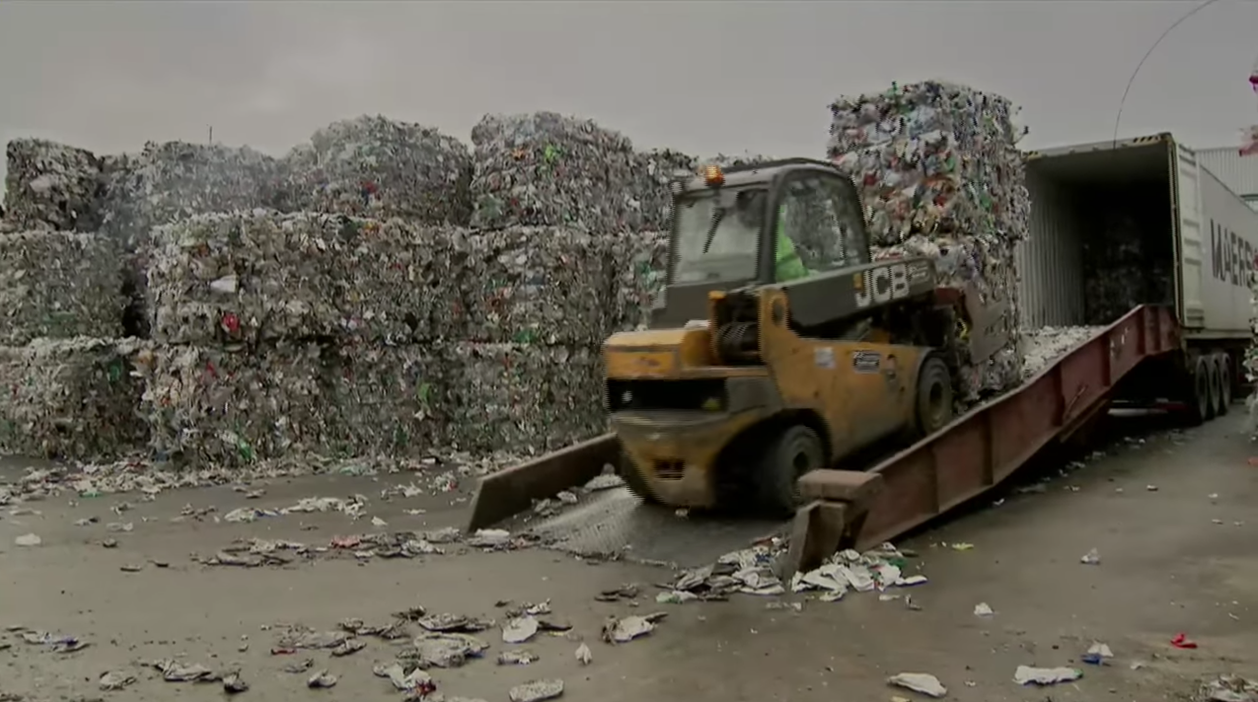 Shipping UK recyclables to China | Still from Sky News documentary  Dirty Business