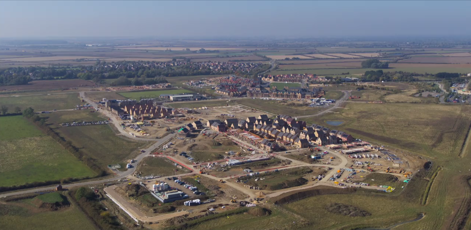 Still from drone footage filmed in October 2018 of the Northstowe development.
