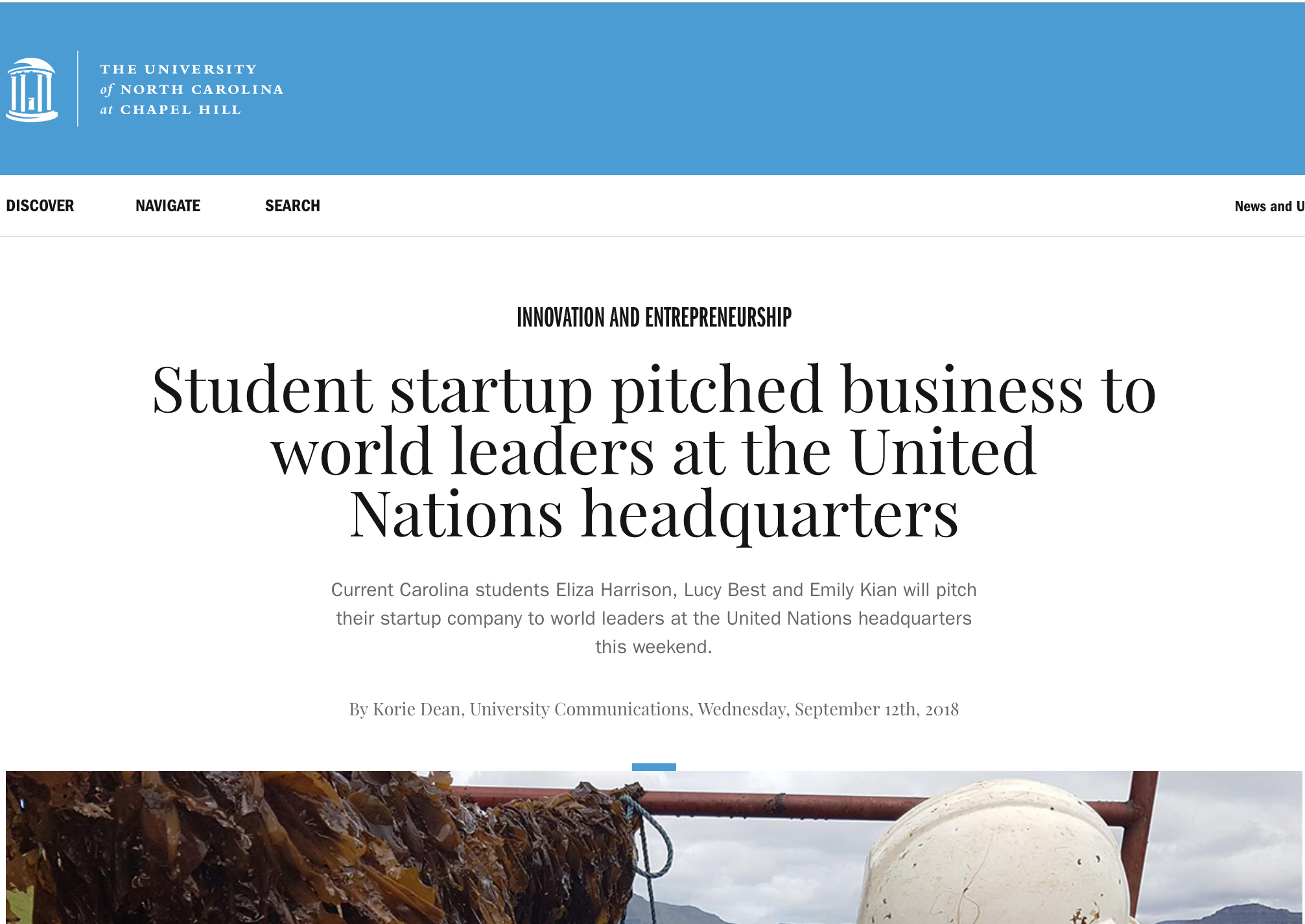ENTHUSIASTIC SEND-OFF FROM UNC   Check out this fantastic  article  written by unc.edu immediately before the Phyta Team headed off to New York for the 2018 Hult Prize Global Finals.