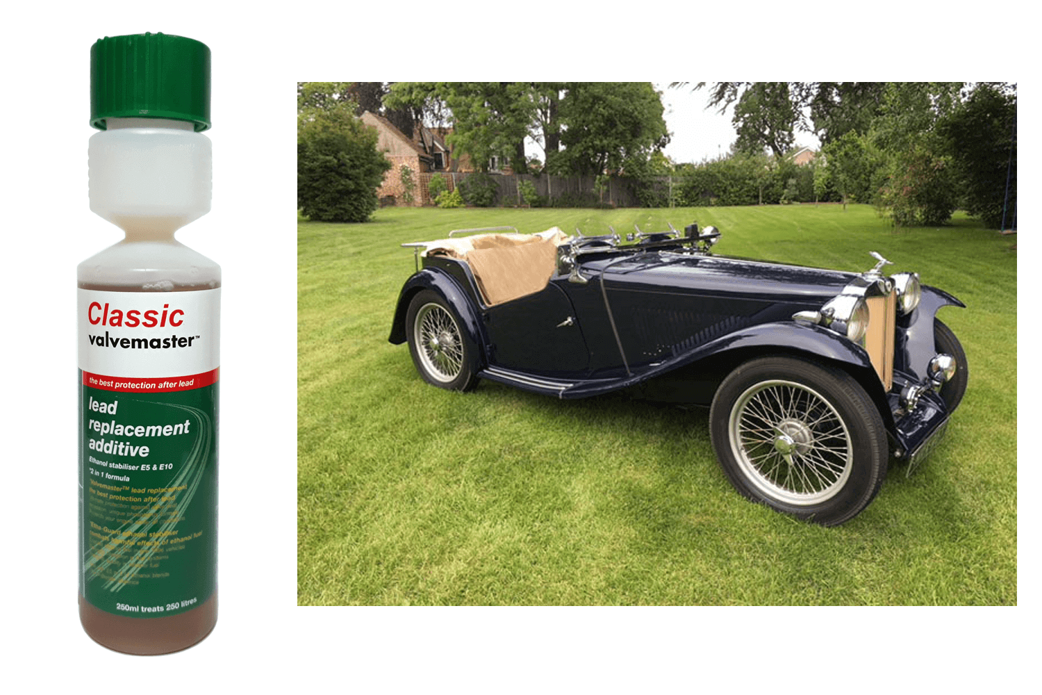 A classic MG with bottle of Valvemaster