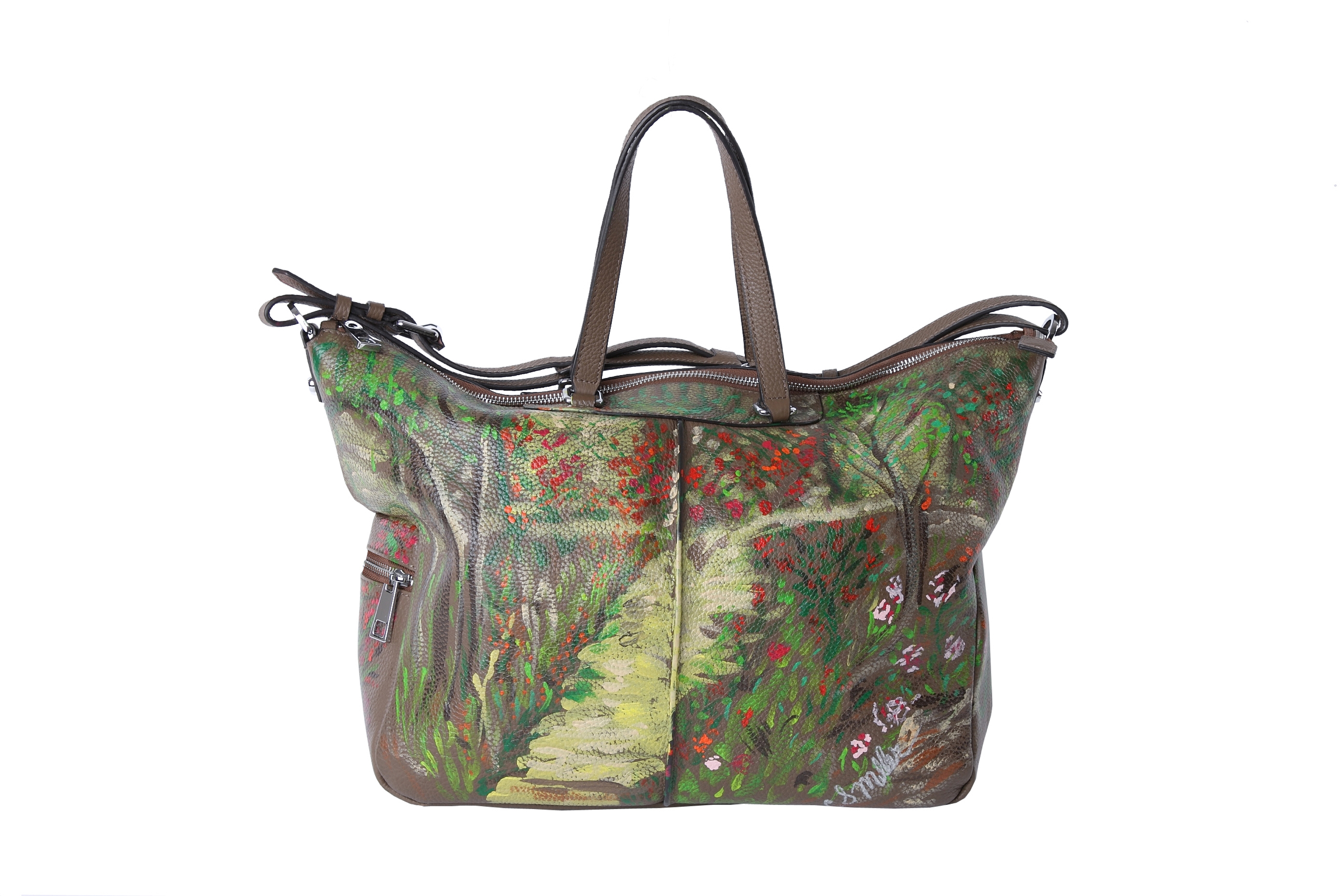 Monet Inspired Hand Painted Leather Bag