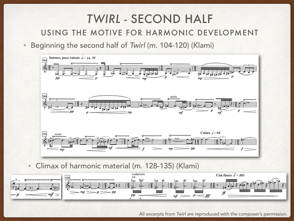 Instead of using direct and frequent repetition the source material, like Larsen, Markku Klami develops his figuration through the intervallic relationships - half step, whole step, minor third. In the second half of  Twirl , especially, he intensifies the harmonic impetus of these intervals through trills and multiphonics. Klami told me that the multiphonics in this work should be considered a harmonic extension of the trills, so to me, that meant also the trills should have melodic and harmonic purpose rather than being atmospheric or ornamental.  The second half starts with a slower, intense sections, which comes right after a very dramatic build up at the end of the first half. To provide contrast in this new section, Klami composes half step trills which are intensified by small  crescendi , each ascending, and connected with small figurations. The intervals of 1/2, whole and minor third define the harmonic and melodic contours, but to a different end than the rhythmic material we looked at in the first half.  This harmonic development climaxes with the multiphonic trills in m. 131-134. The harmonies intensify with the crescendi, first as a half step trill, then whole step trill, then minor third. And the multiphonic trill combines both the minor third on the both and whole step on the top. It's as if Klami has exhausted the motivic development in this form. So what does he do? He transitions back to the rapid ascending 3-note figures from the first half, at   con fuoco  , leading to the last new material of the piece.