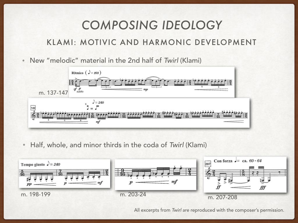 The last 'new material' that Klami presents in the work, might have sounded like it came out of no where - instead of slurred fast notes and soft intense trills, all of a sudden there are rapid articulated repeated notes. But I believe this section is also generated from the figuration motive, and the intervals of the motive. It first appears in measure 137 for 10 measures, and it repeats for another 10 measures leading up to the coda, but in  mp . While the articulation and poco scherzando style contrast with what we heard before, the melodic contour consists of the same 1/2-step, whole-step, minor third relationships as both the figurative and harmonic material already discussed.  Klami also uses this material in the coda, winding down the piece, I've shown 2 examples here, before the final statement, at m. 207   con forza  , of the minor third, whole step, and half step.