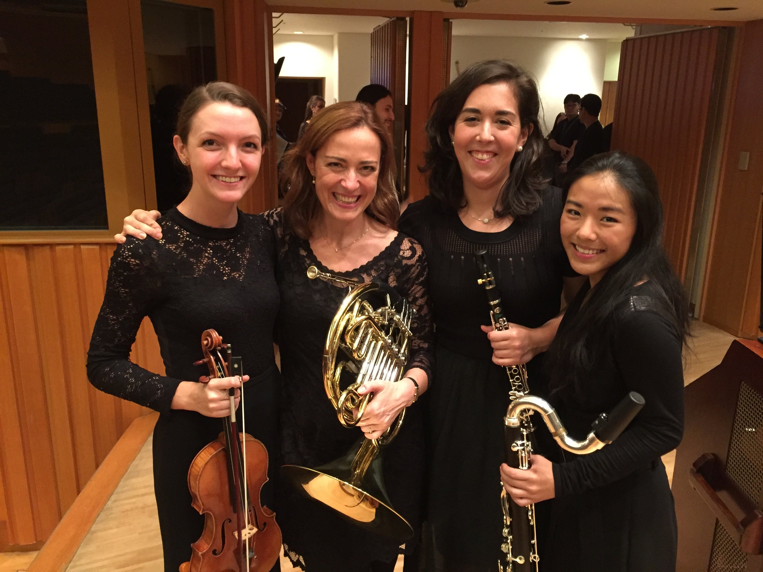Pacific Music Festival 2017, after Program A concert. Pictured left to right: Natalie Gaynor (Houston Grand Opera), Sarah Willis (faculty, Berlin Philharmonic), Lucy Abrams, Natalie Jen Hoe (Florida Orchestra)